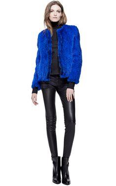 Cobalt Blue Knitted Mink Jacket by Helen Yarmak for Preorder on Moda Operandi