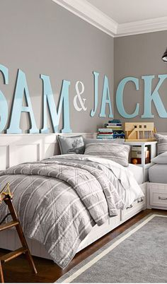 love the large lettering on the walls #boys #rooms #kids