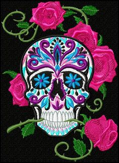 Sugar skull towel CUSTOM kitchen bathroom Dia de los Muertos skull rose Mexico.