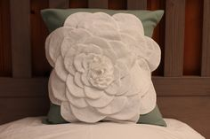 Decorative Flower Pillow - Sea Green cover with White Flower Petals - 16 x 16. $27.00, via Etsy.