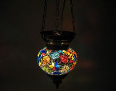 Colorful hanging lamp lampe mosaique Night Shade by meryemart