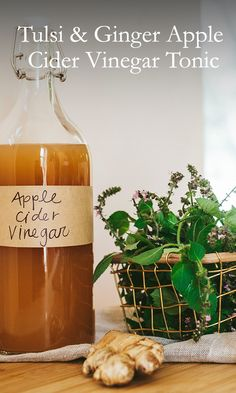 This apple cider vinegar-based remedy can be used with soda water and honey as a cooling treat, a base for a cocktail, or even in salad dressings.
