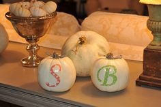 monogram pumpkin. print font on scrapbook paper and glue and/or modge podge onto pumpkin