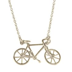 A keen cyclist, Alex's favourite bicycle is his Bianchi, which he uses daily for his cycle to his London workshop. This necklace is styled after his Bianchi, including his 'moustache' handlebars, and wheels that spin! Golden Bike, Locket Necklace, Gold Necklace, Handmade Necklaces, Handmade Jewelry, Tandem Bicycle, Alex Monroe, Cycle Chic, Precious Metals
