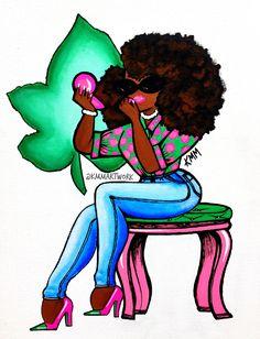 Aka Sorority Gifts, Alpha Kappa Alpha Sorority, Sorority And Fraternity, Pretty Girl Rock, Pretty In Pink, Green Screen Backdrop, Alpha Art, I Saw The Light, Painting Of Girl
