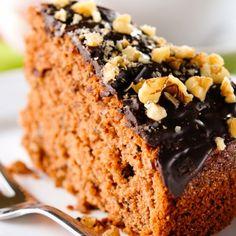 Moist Caramel Cake With Chocolate Glaze and Nuts
