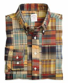 Men's Regular Fit Patchwork Madras Sport Shirt