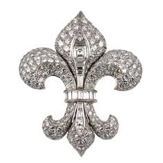 1930s Diamond and Platinum Fleur De Lis Brooch