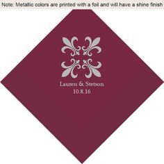 Fleur De Lis Personalized Wedding Napkins | Personalized Napkins