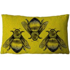 Three Bee cushion Green