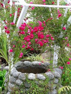 Homemade wishing well with rose arbor