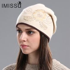 ec9643757c3bc IMISSU Women s Winter Hats Knitted Wool Skullies Casual Cap with Flower  Pattern Gorros Thick Warm Bonnet