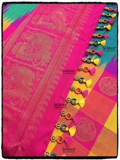 Wedding Silk Saree Kuchu Saree Tassels Designs, Saree Kuchu Designs, New Blouse Designs, Dress Neck Designs, Bridal Blouse Designs, Latest Salwar Kameez Designs, Mirror Work Saree, Wedding Silk Saree, Designer Blouse Patterns