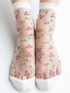 Cute floral sheer socks