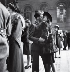 An American soldier kisses his girlfriend goodbye at Penn Station, New York, 1944.