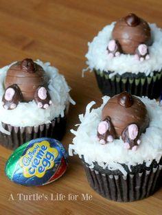 Bunny Butt Cupcakes using Cadbury Eggs. Adorable Easter sweets!