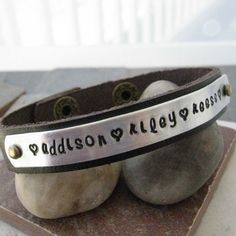 Personalized Mothers Bracelet, Leather Cuff Bracelet, 1/2 inch leather cuff, choose your own cuff color, 25 character max on Etsy, $24.95