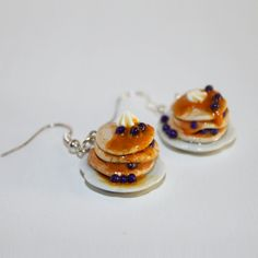 Pancakes with berries and cream earrings.