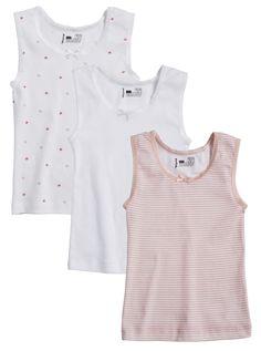 Girls 3 Pack 100% Cotton Tagless Multi Color Tank Vest Undershirts