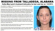 Kathy Mae Lynn, 45, missing since 1/2/2013 from Talladega, AL.