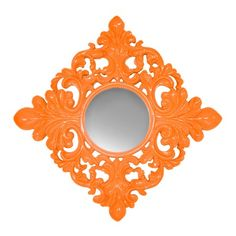 This would be great also in a lime green against a navy wall. I pinned this Coco Wall Mirror from the Lowrey & Lane event at Joss and Main! Navy Walls, Orange Walls, Baroque Mirror, Mirror Mirror, Mirrors, Orange Crush, Orange Is The New Black, Joss And Main, Decorating Your Home