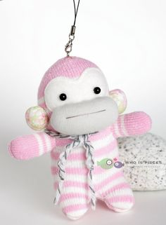 OOAK 5 inches baby sock monkey baby pink stripes