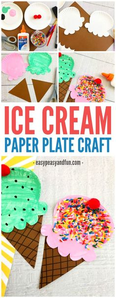 Fun Paper Plate Ice Cream Craft for kids - Crafts for Kids Craft Activities For Kids, Preschool Crafts, Kids Crafts, Arts And Crafts, Craft Ideas, Montessori Activities, Preschool Learning, Painting Crafts Kids, Kindergarten Crafts Summer