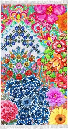 Prosop de Plaja Zaira - 100x180 cm Modern Beach Towels, Beach Mat, Outdoor Blanket, Tapestry, Happy, Prints, Cotton, Painting, Design