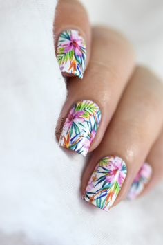 Tropical MILV water decals nails