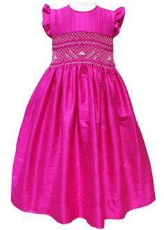 Bright pink silk dress hand smocked