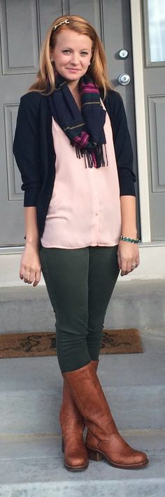 Sweet Bananie - blush blouse, navy cardigan, olive skinnies, boots + plaid scarf
