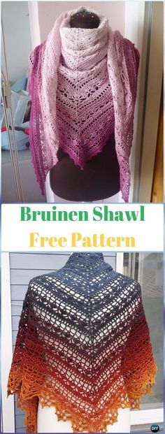Crochet Bruinen Shawl Free Pattern - Crochet Women Shawl Sweater Outwear Free Patterns