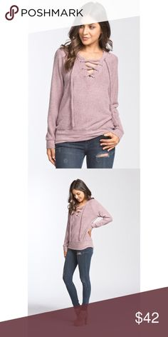 Criss Cross Top-MAUVE Loose fit, scoop V-neck, long sleeve, raglan top. Lace up detail at front neck. Has waistband. This top is made with heavyweight, brushed french terry knit fabric that has a very soft fuzzy texture, drapes well, stretches well, and is very warm. Hannah Beury Tops