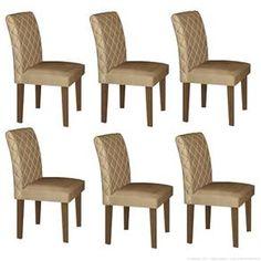 Cadeira Estofada 100% MDF Orion 6 Peças Castanho/Animale Bege - LJ Móveis