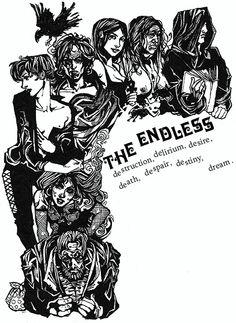 The Endless siblings by Neil Gaiman Neil Gaiman, Comic Books Art, Comic Art, Morpheus Sandman, Death Sandman, Vertigo Comics, Marvel, Comic Character, Dark Art