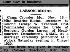 Larson-Riojas Wedding, Camp Crowder, 17 Nov 1942