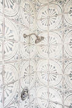 Patterned tiles in shower