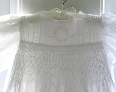 love the combination of smocking and heirloom sewing - Heirloom Christening Gown and Bonnet by gumdropgrove on Etsy