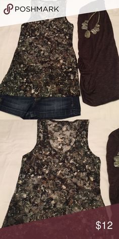 Floral Mesh Tank Top Floral Mesh Tank Top. Size L. ** FITS TIGHT** See through. Black/Brown/Green. Almost Famous Tops Tank Tops