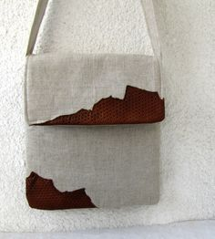 Natural Linen and leather bag