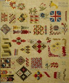 A 19th Century ENGLISH Berlin WoolWork Sampler Embroidery Sampler, Embroidery Stitches, Bargello, 19th Century, Needlework, Bohemian Rug, Cross Stitch, Quilts, Wool