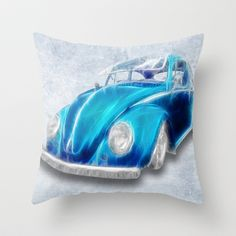 """VW Beetle Blue Throw Pillow by Alice Gosling - $20.00Available in 3 sizes, with or without the insert and 16"""" with cover for outside use  #pillow #cushion #home #unique #VW #Volkswagen #car #beetle #blue"""