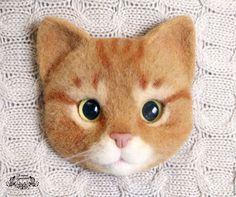 Броши ручной работы. Ярмарка Мастеров - ручная работа. Купить Брошь Рыжий кот (валяная брошь, брошь из шерсти). Handmade.