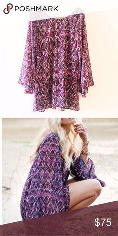 Show Me Your Mumu purple bell sleeve dress. Show Me Your Mumu bell sleeve mini dress. Size small. Purple Show Me Your MuMu Dresses Mini