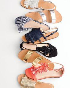 J.Crew women's fringe slingback sandals, Malta mirror metallic sandals, gingham knotted fabric slides, suede tassel sandals and multicolored tassel sandals.