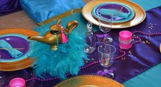 Pretty table settings at a Princess Jasmine girl birthday party! See more party…