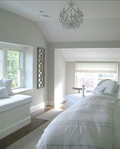 Wall and Trim Paint Color. Wall Paint Color is Benjamin Moore Light Pewter 1464 Trim Paint Color is Benjamin Moore White Dove Attic Bedroom # White Trim Paint Color, Wall Paint Colors, Paint Colors For Home, Luxury Interior Design, Interior Exterior, Interior Paint, Coastal Interior, Interior Rendering, Benjamin Moore Light Pewter