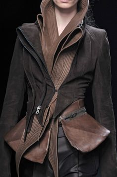 Brown leather jacket with sculptural collar; fashion details // Haider Ackermann Fall 2010