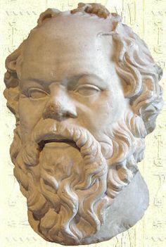"""Socrate - Marbre, œuvre Romaine - Ier siècle - Réalisée par Lysippe - Musée du .Louvre. Socrate est un philosophe grec (Alôpekê, Attique, 470-Athènes 399 avant J.-C.). Dans l'agora, Socrate s'efforce de changer l'homme en homo philosophicus. Il veut conduire la jeunesse d'Athènes sur la voie du Vrai, du Beau et du Juste. Pour cela, il met en application une méthode qui repose sur l'art du dialogue contradictoire (la dialectique) et sur l'art """"d'accoucher les esprits"""" (la maïeutique)…"""