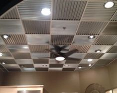 Corrugated metal panels used for the ceiling